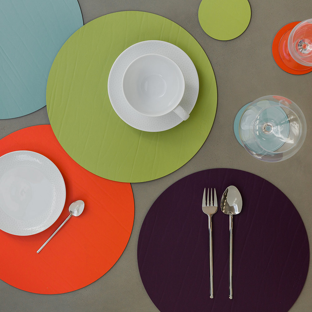 A by AMARA - Round Leather Placemat - Pool Green