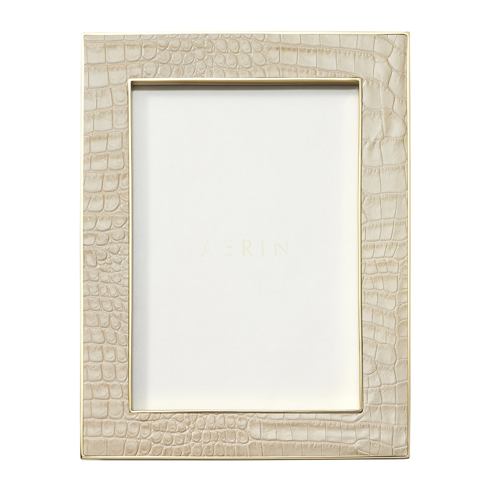 AERIN - Classic Croc Leather Photo Frame - Fawn - 5x7""
