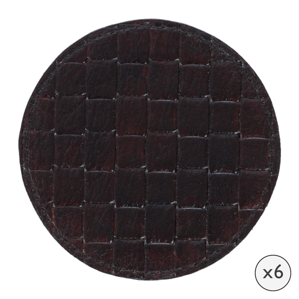 A by Amara - Chocolate Weave Leather Coasters - Round - Set of 6