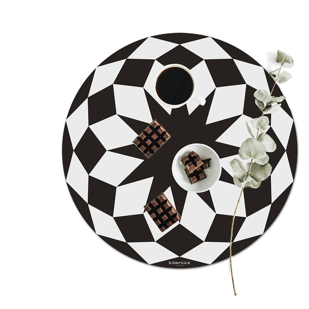 BEAUMONT - Hygge Round Vinyl Placemat - Black/White