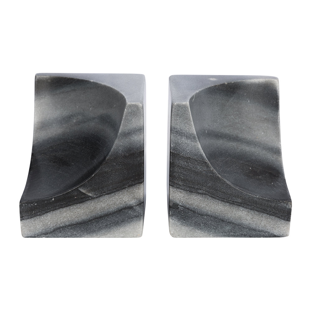 A by Amara - Carved Marble Bookends - Set of 2 - Black