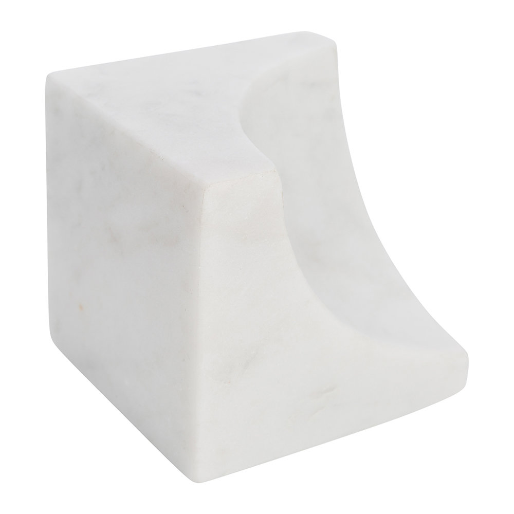 A by AMARA - Carved Marble Bookends - Set of 2 - White