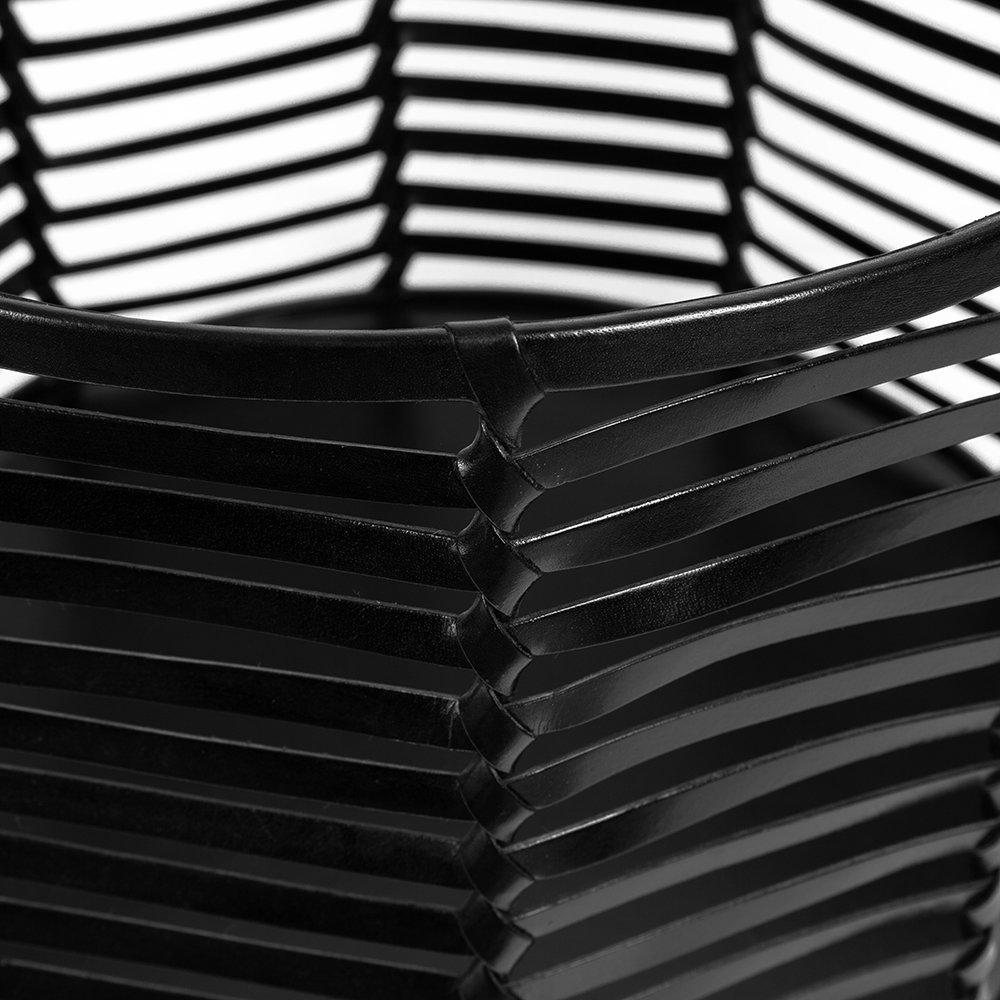 A by AMARA - Slotted Leather Basket - Black