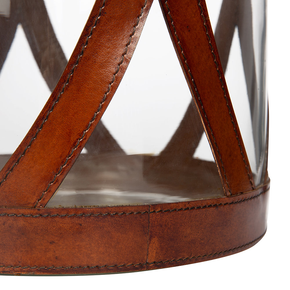 A by AMARA - Large Leather & Glass Hurricane - Tan