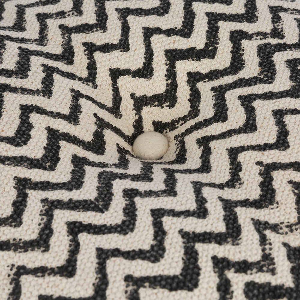 A by Amara - Printed Zigzag Cube Pouf - Natural/Black