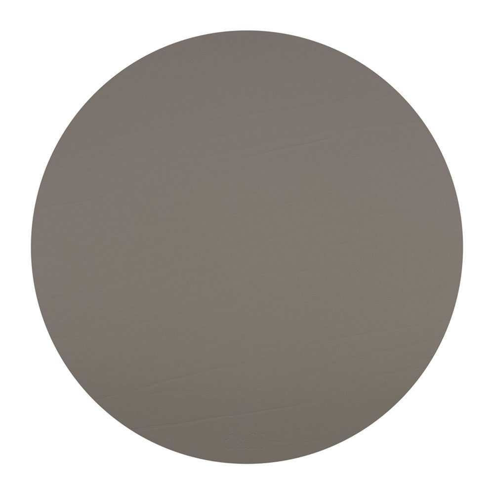 A by AMARA - Round Leather Placemat - Taupe