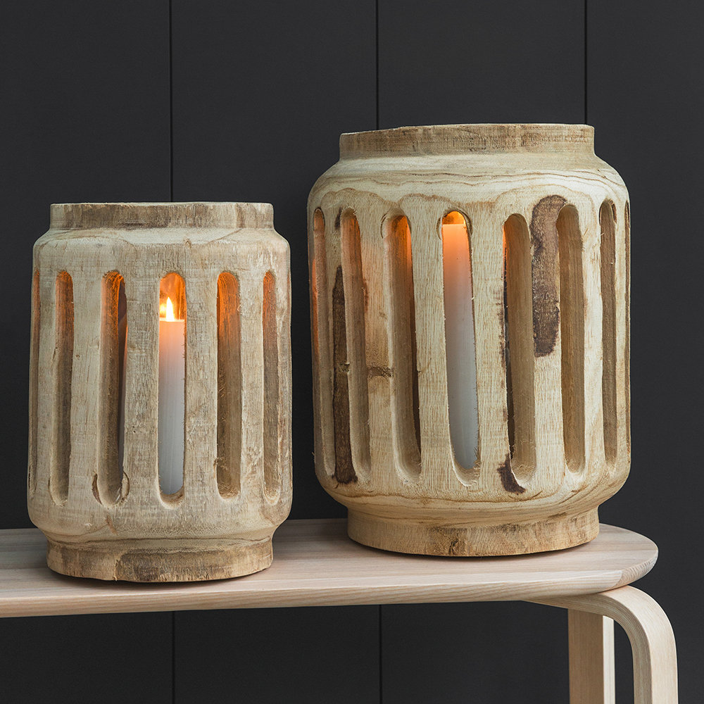 Parlane - Slotted Wooden Hurricane Lamp - Small
