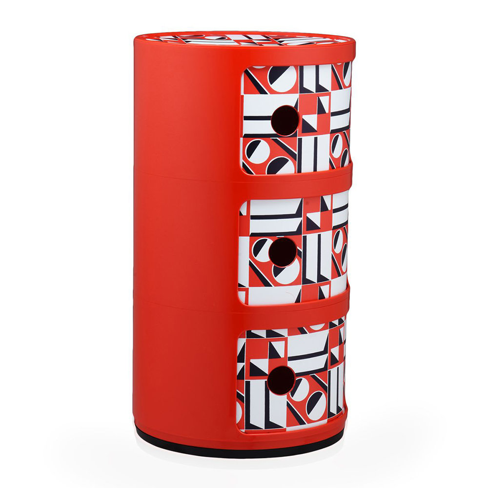 Kartell - La Double J Componibili Storage Unit - Red Geometric