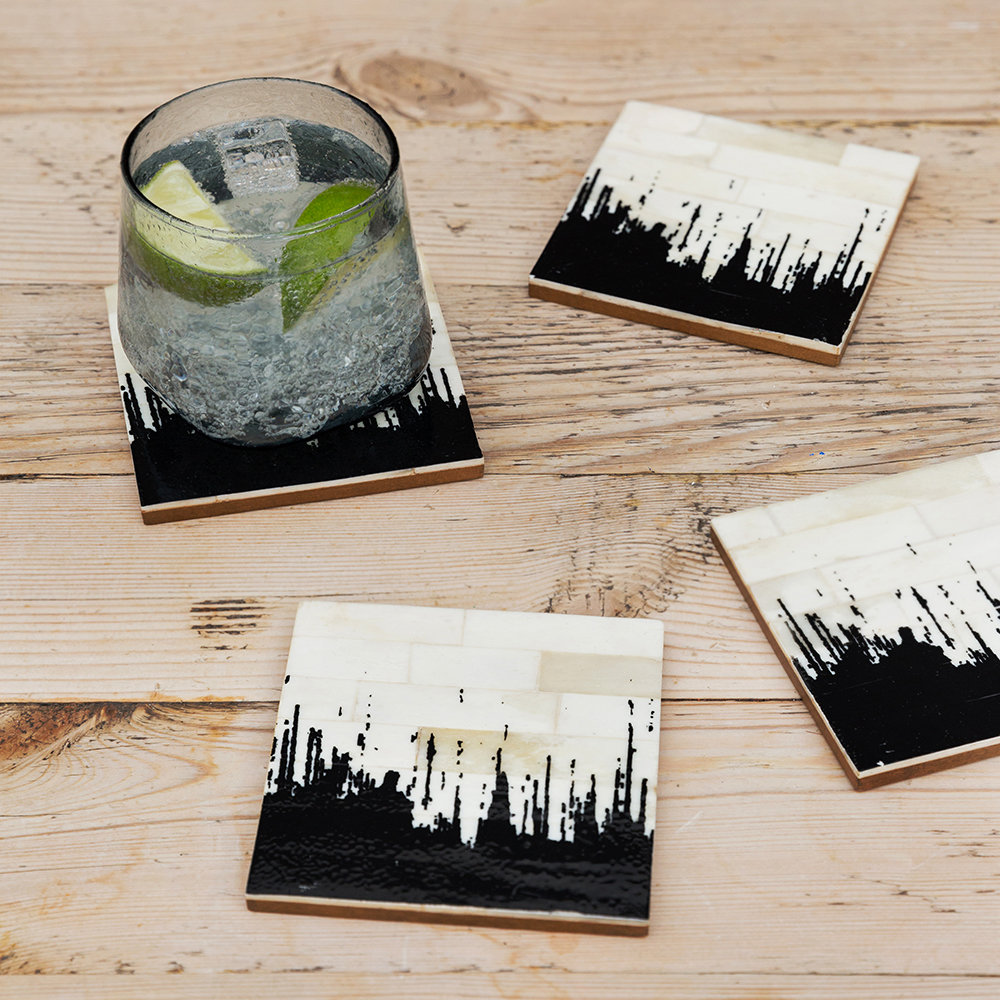 A by AMARA - Hammered Glass Tumblers - Set of 6 - Gray
