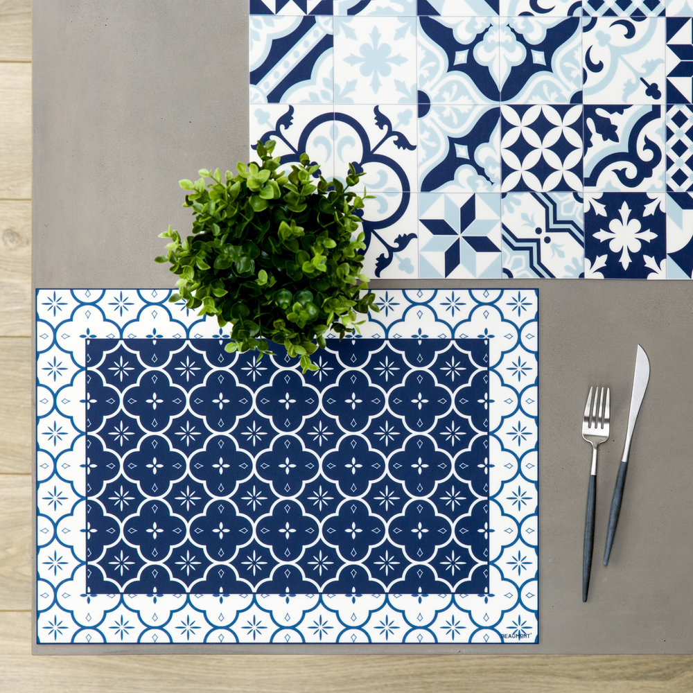 BEAUMONT - Large Tiles Vinyl Placemat - Blue