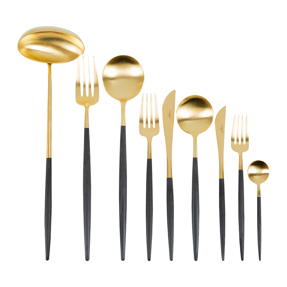 Cutipol - Goa Flatware Set - 75 Piece - Black/Gold