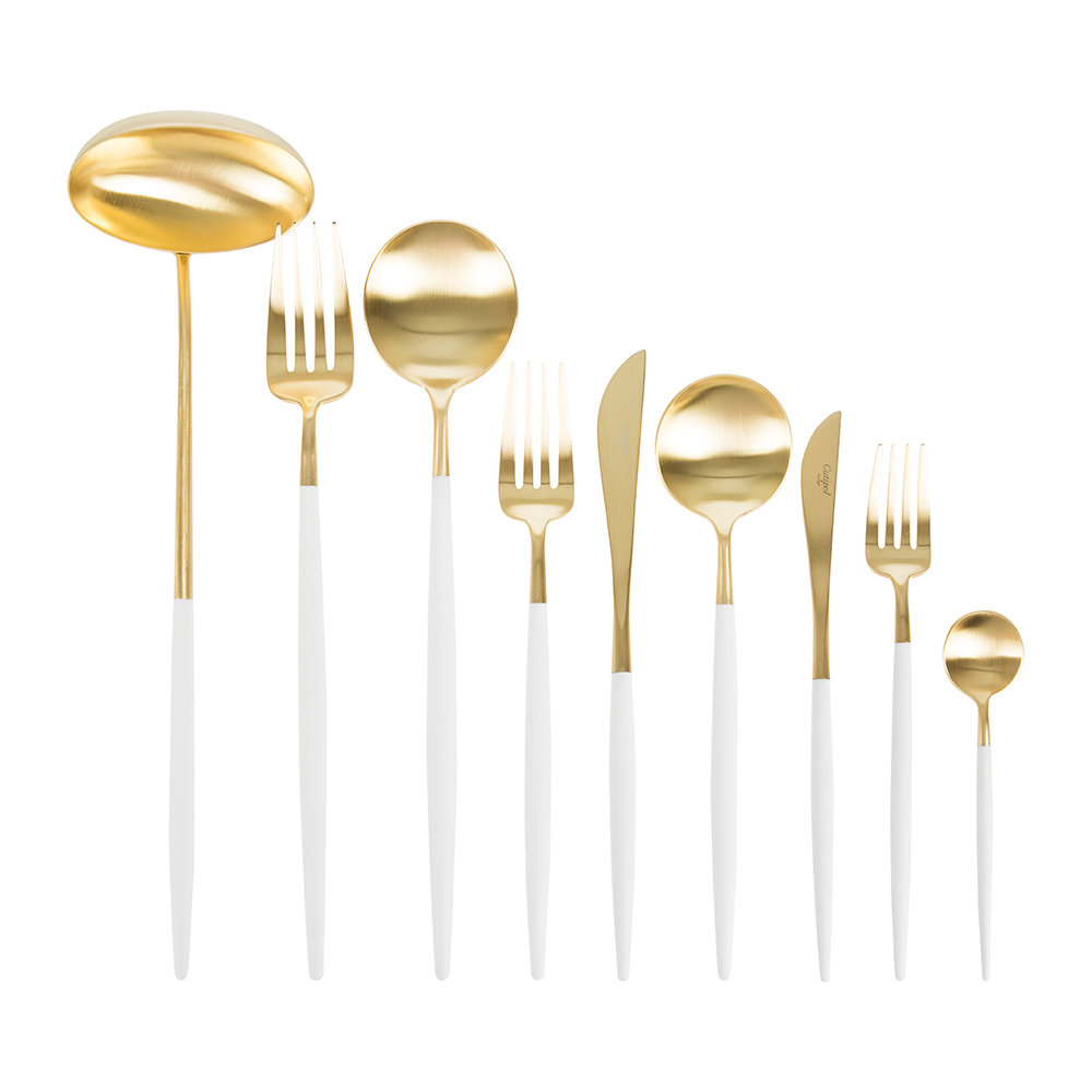 Cutipol - Goa Flatware Set - 75 Piece - White/Gold