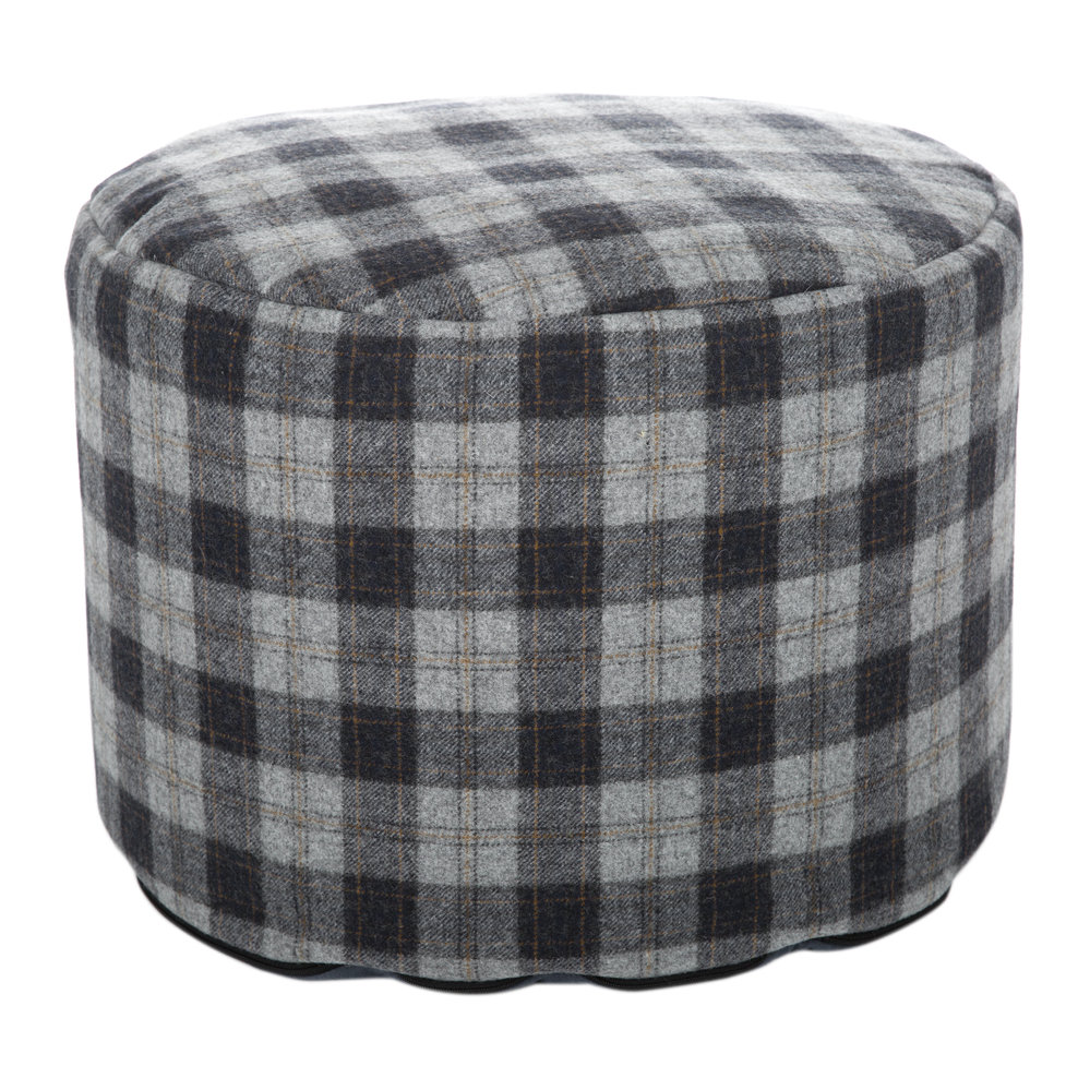 Tweedmill - Tweed Pouf - 45x30cm - Navy Silver Check/Denim