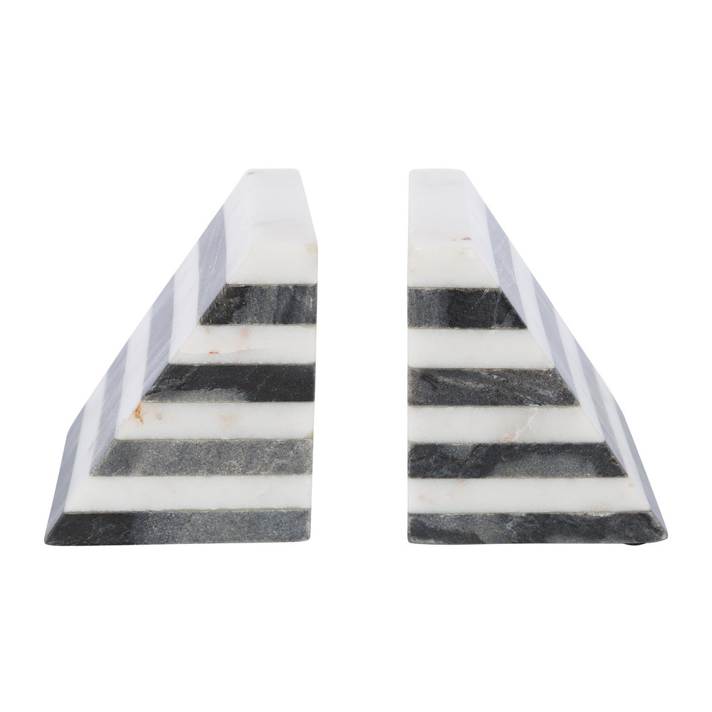 A by AMARA - Black  White Striped Marble Bookends - Set of 2