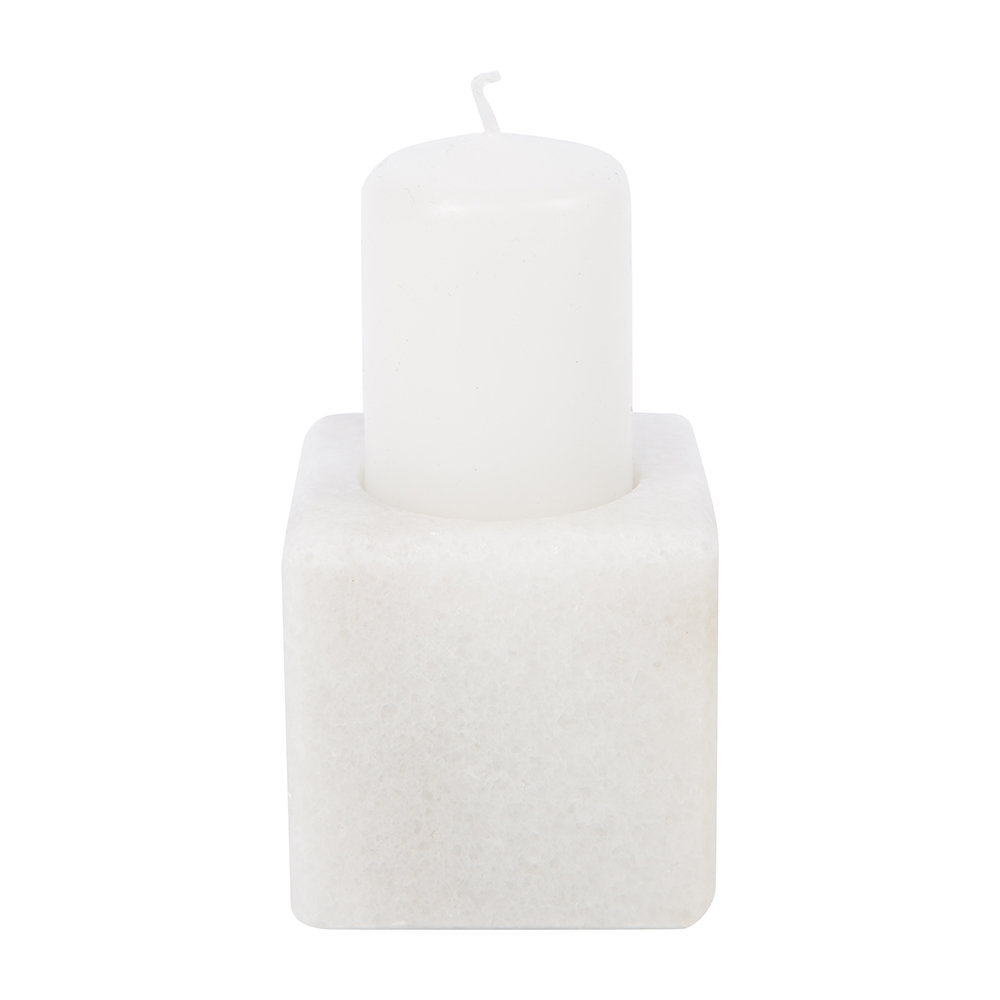 Stoned - Marble Candle Block - White