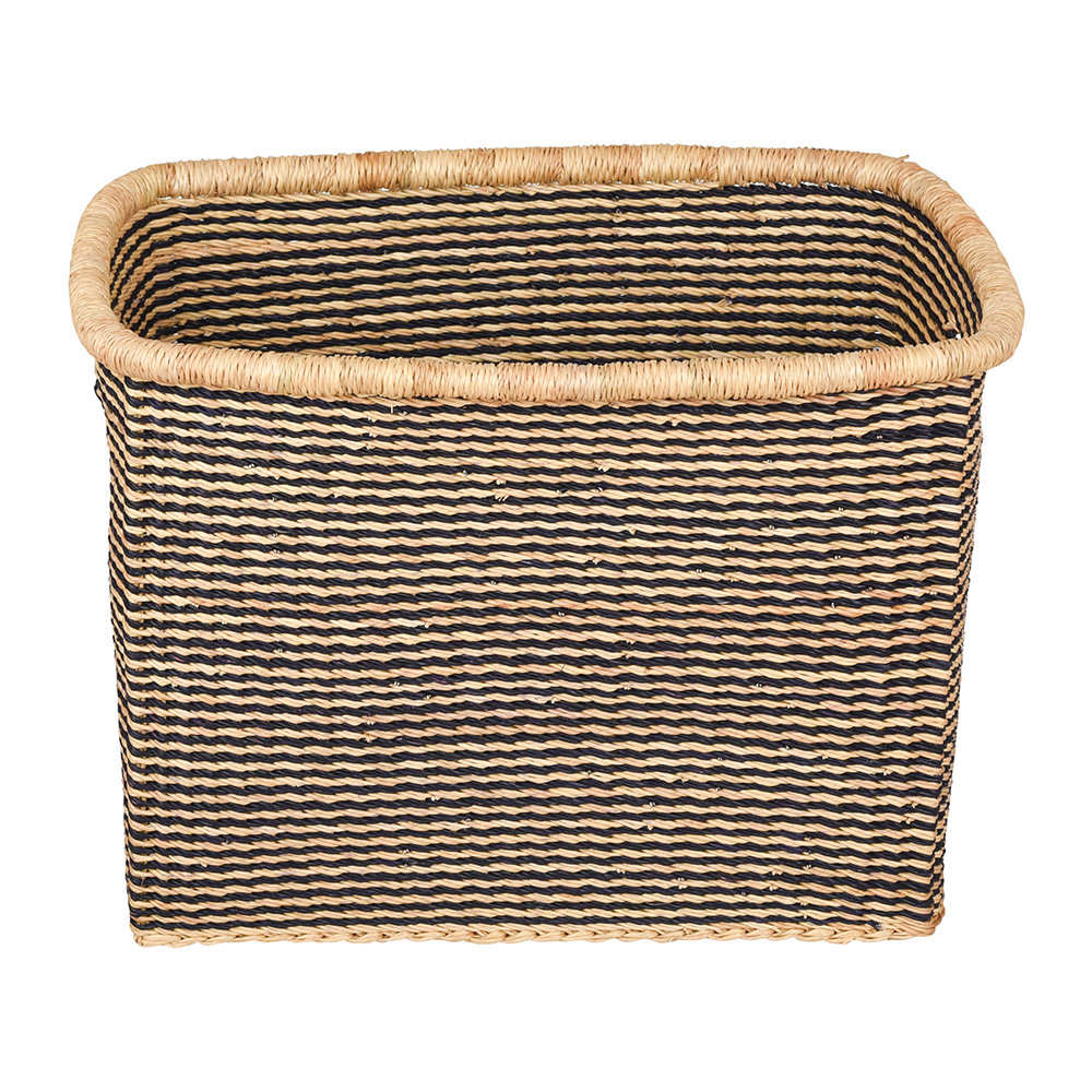 The Basket Room - Akosu Rectangle Hand Woven Storage Baskets - Black Stripes - M