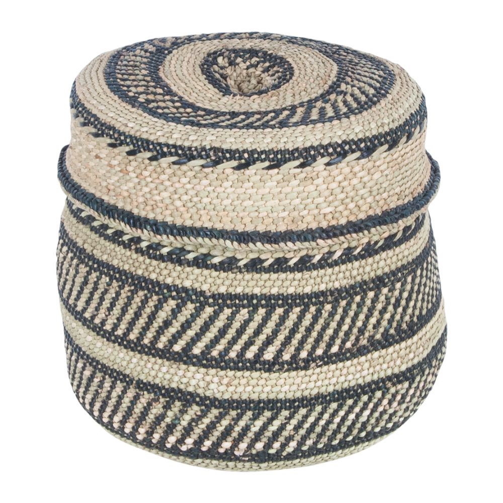 The Basket Room - Nyumba Pattern Lidded Hand Woven Basket - S