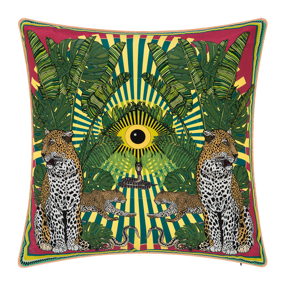 Silken Favours - Eye of the Leopard Cushion - 45x45cm - Lime