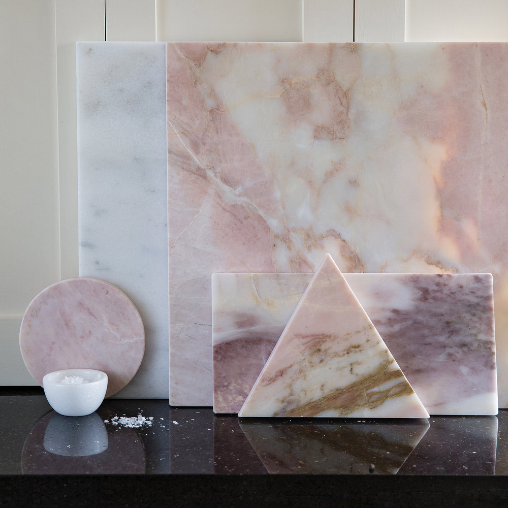 Stoned - Round Marble Serving Board - Pink - Pink