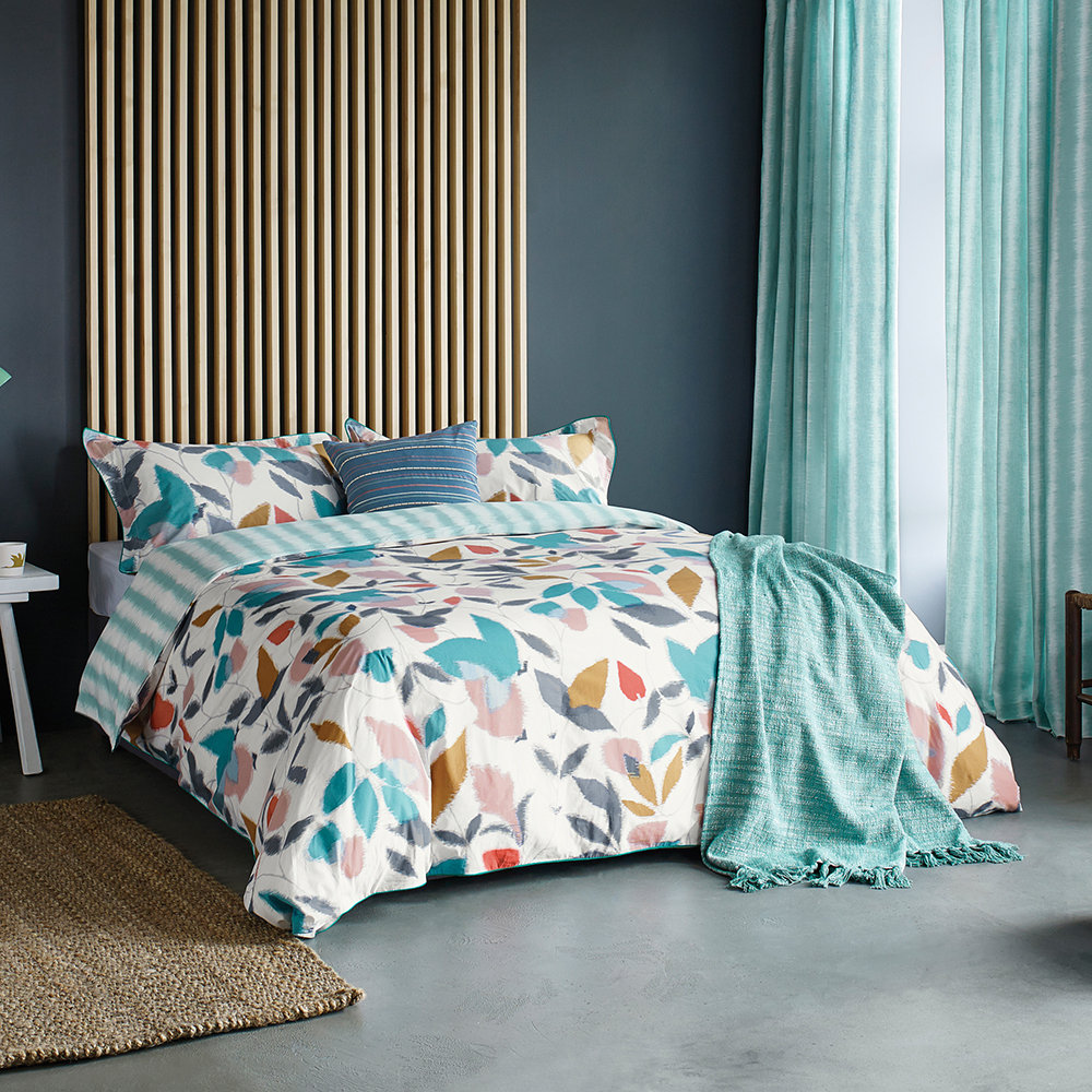 Scion - Akira Lined Curtains - Teal - 168x183cm
