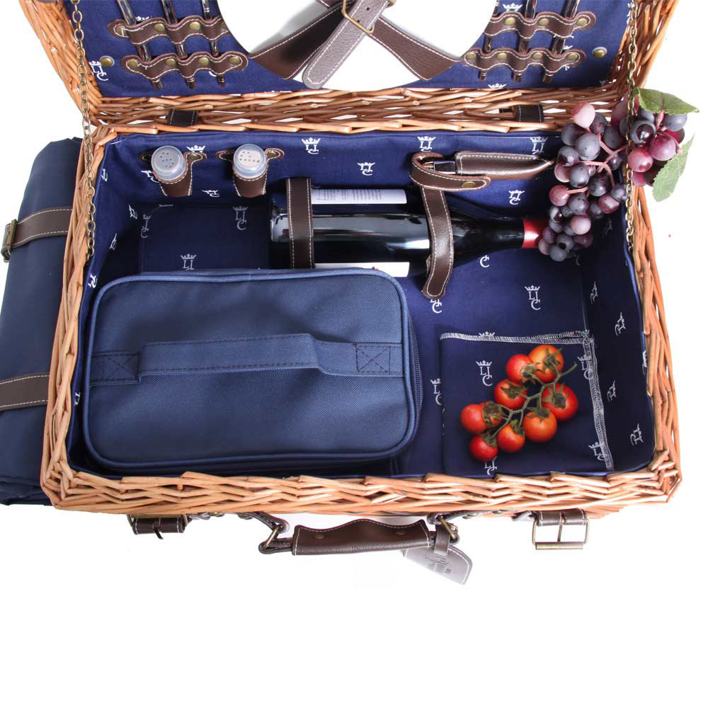 Les Jardins de la Comtesse - Champs Elysees Picnic Basket - Blue - 2 Person