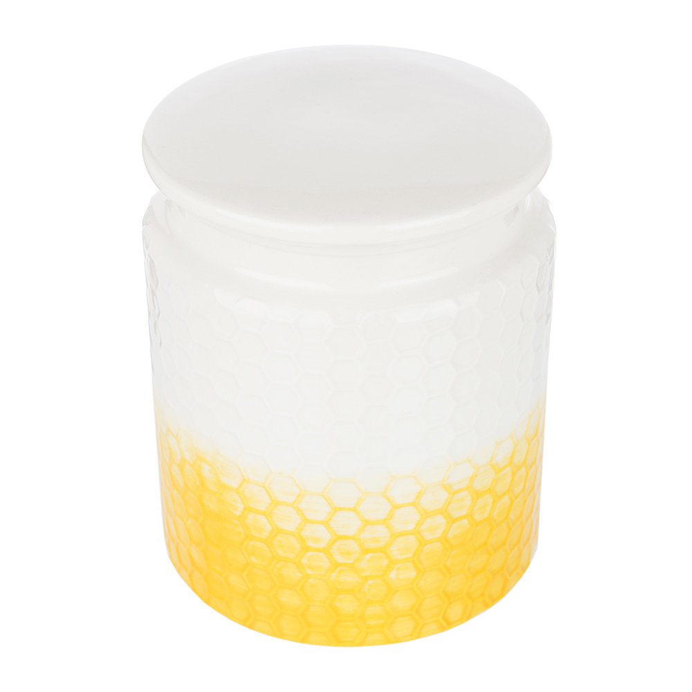 The Kitchen Pantry - Honeycomb Embossed Yellow Storage Canister - Large