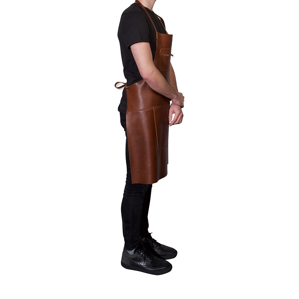 DutchDeluxes - Zipper Style Leather Apron - Classic Brown