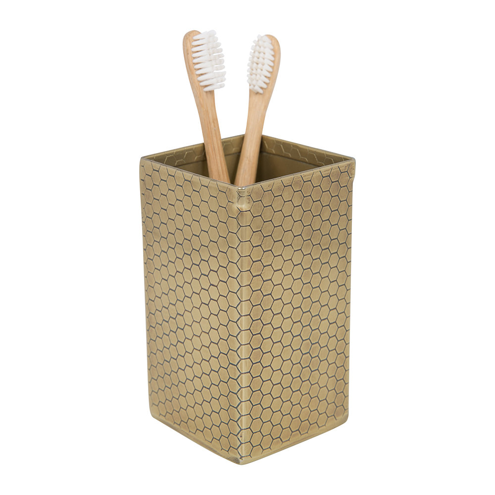 A by AMARA - Antique Gold Honeycomb Toothbrush Holder