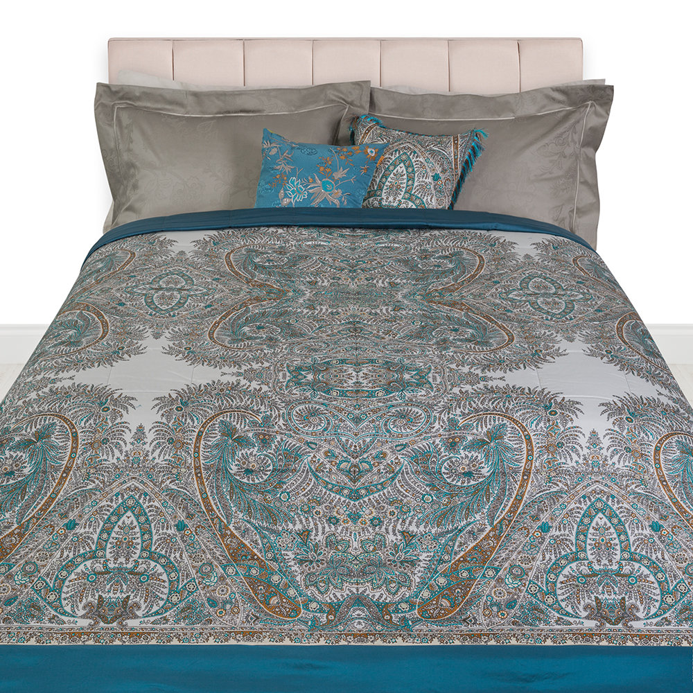 Etro - Colombara Quilted Bedspread - 270x270cm - Teal