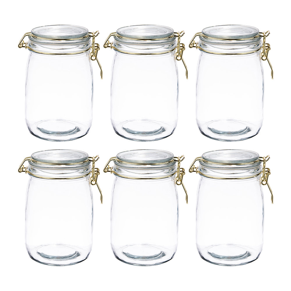 The Kitchen Pantry - Glass Preserving Jars - Set of 6 - 1L