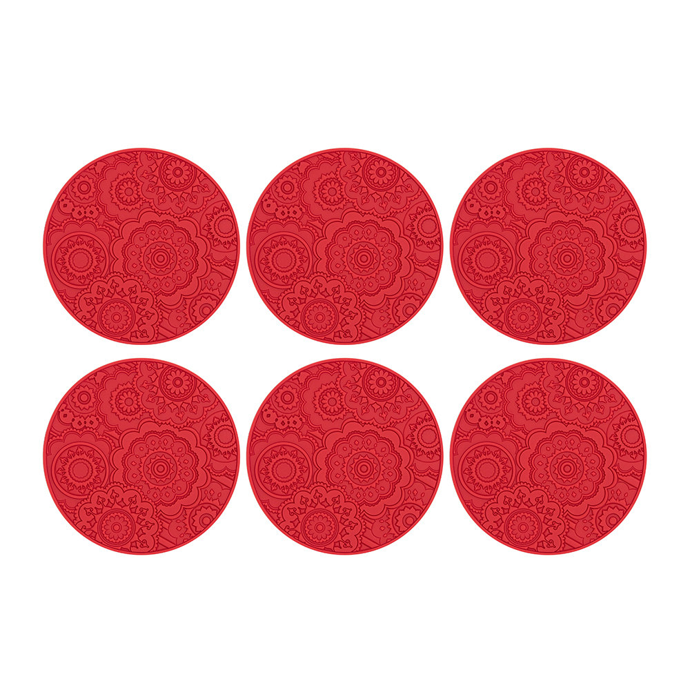 Images d'Orient - Round Urban 03 Coaster - Set of 6 - Lava Red