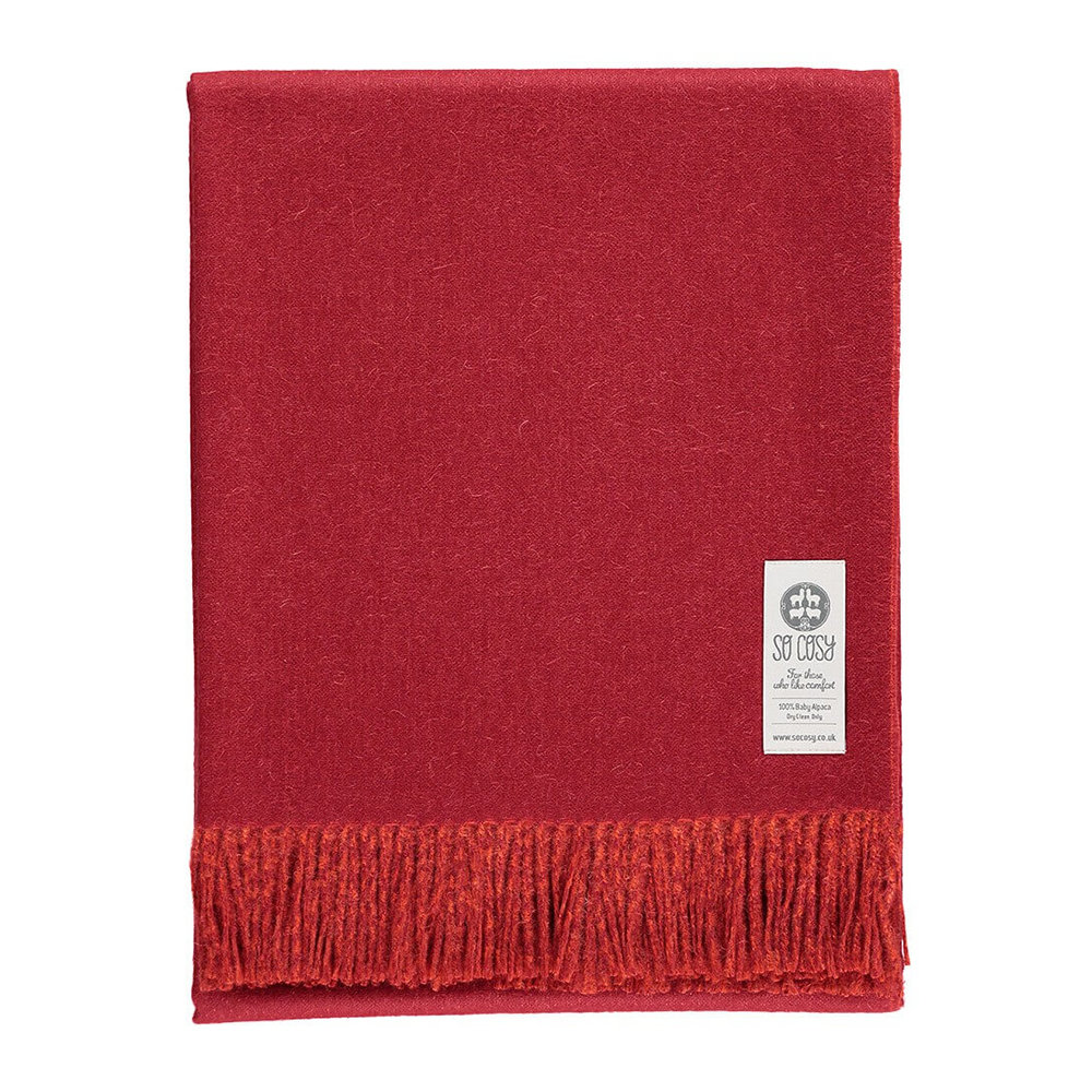 So Cosy - Emery Baby Alpaca Wool Throw - 130x180cm - Crimson Red/Deep Orange