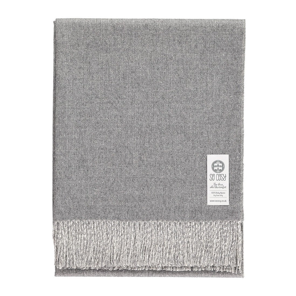 So Cosy - Emery Baby Alpaca Wool Throw - 130x200cm - Light Grey/White