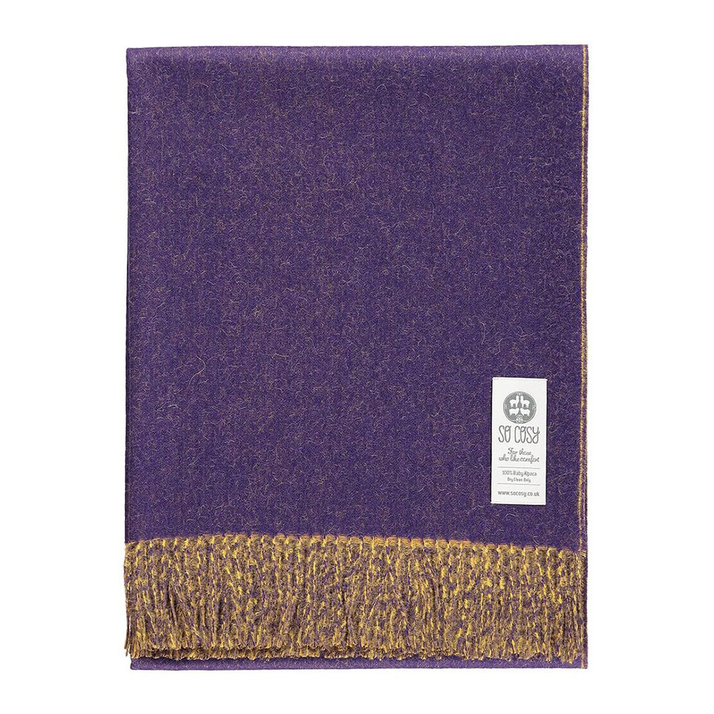 So Cosy - Emery Baby Alpaca Wool Throw - 130x200cm - Purple/Goldenrod
