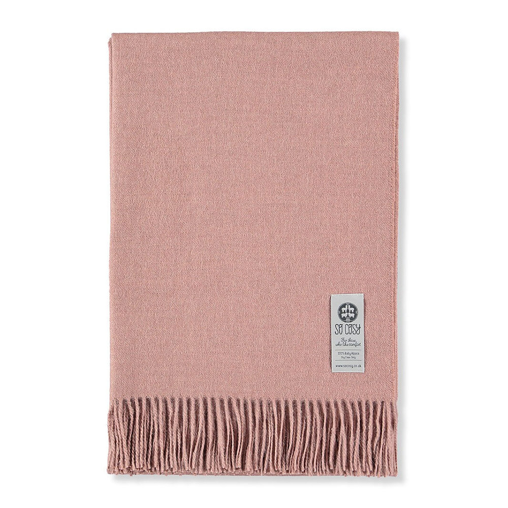 So Cosy - Emma Baby Alpaca Wool Throw - 130x200cm - Light Rose Beige