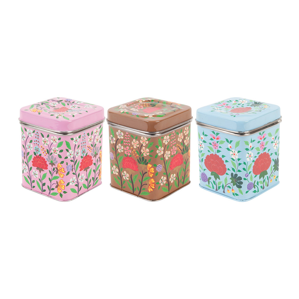 Ian Snow - Hand Painted Floral Stainless Steel Square Canisters - Set of 3