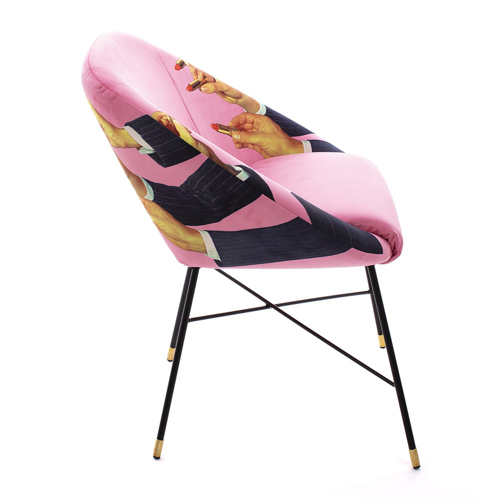 Seletti wears Toiletpaper - Upholstered Padded Chair - Pink Lipsticks