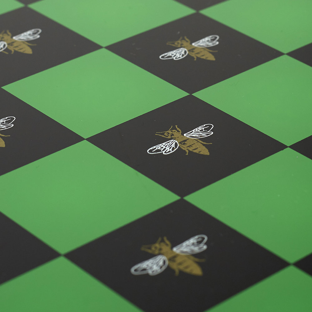 casacarta - Chess Board - Green with Gold Bee Print