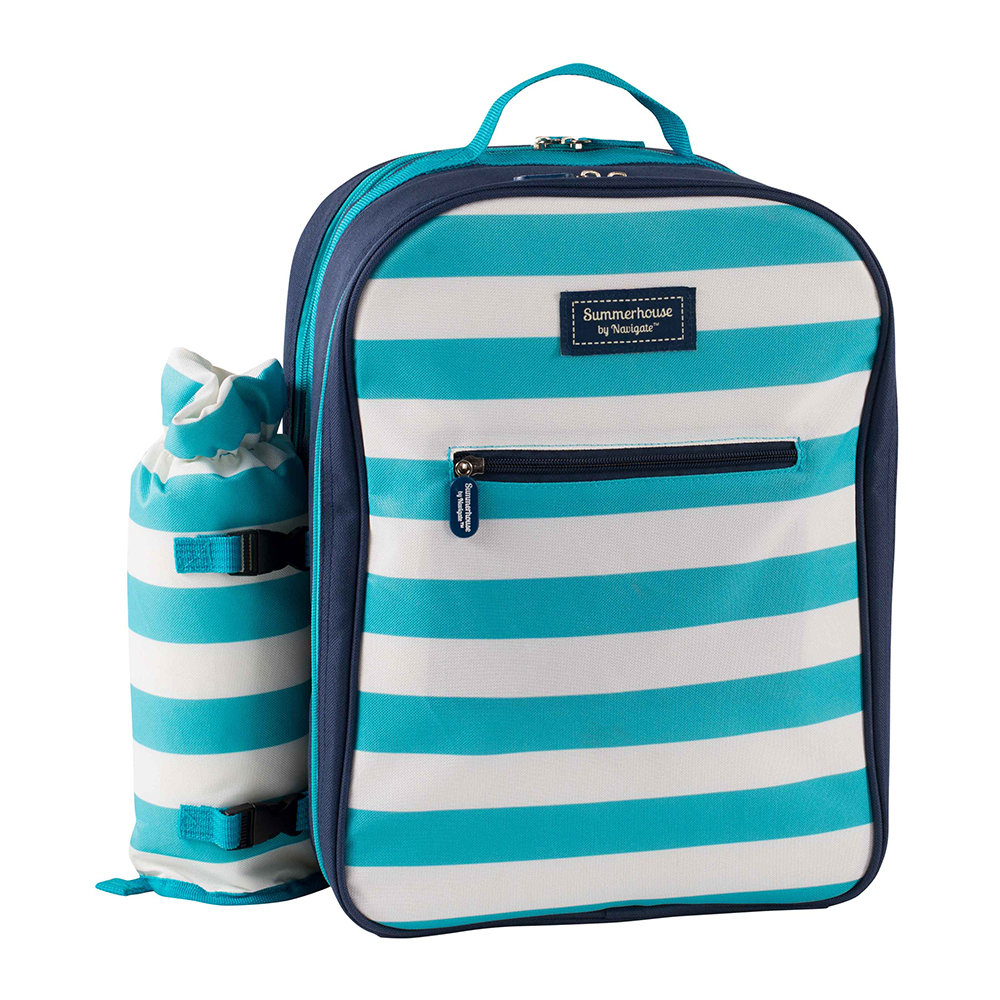 Navigate - Coast Four Person Picnic Backpack - Aqua/White