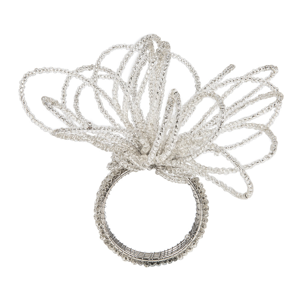 A by Amara - Beaded Flower Napkin Rings - Set of 4 - Silver