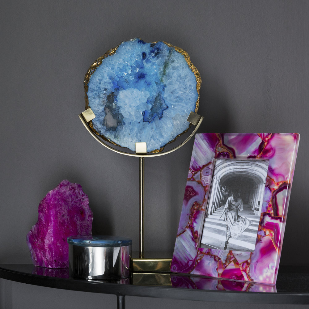 A by AMARA - Agate Slice Object - Blue
