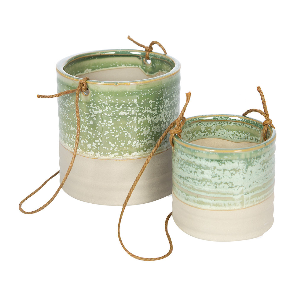 IvyLine - Milan Hanging Planter - Set of 2 - Ice Green