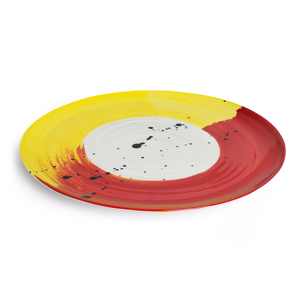 Bliss Home - Fabbro Swish Platter - Red and Yellow