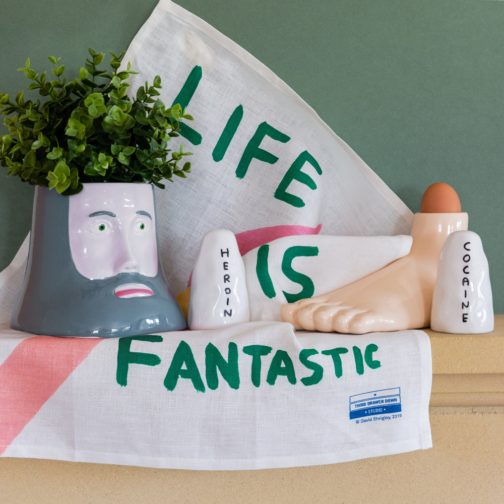 Third Drawer Down - David Shrigley Tea Towel - Life Is Fantastic