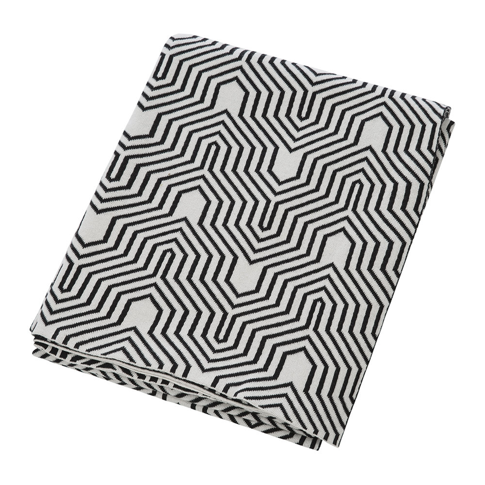 A by Amara - Geometric Knitted Throw - Black/White