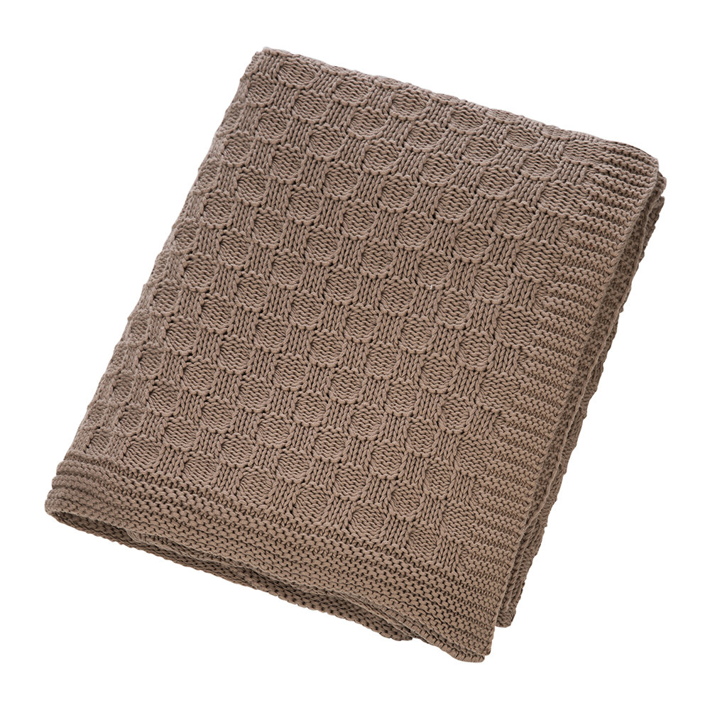 A by Amara - Tile Knit Throw - Chestnut