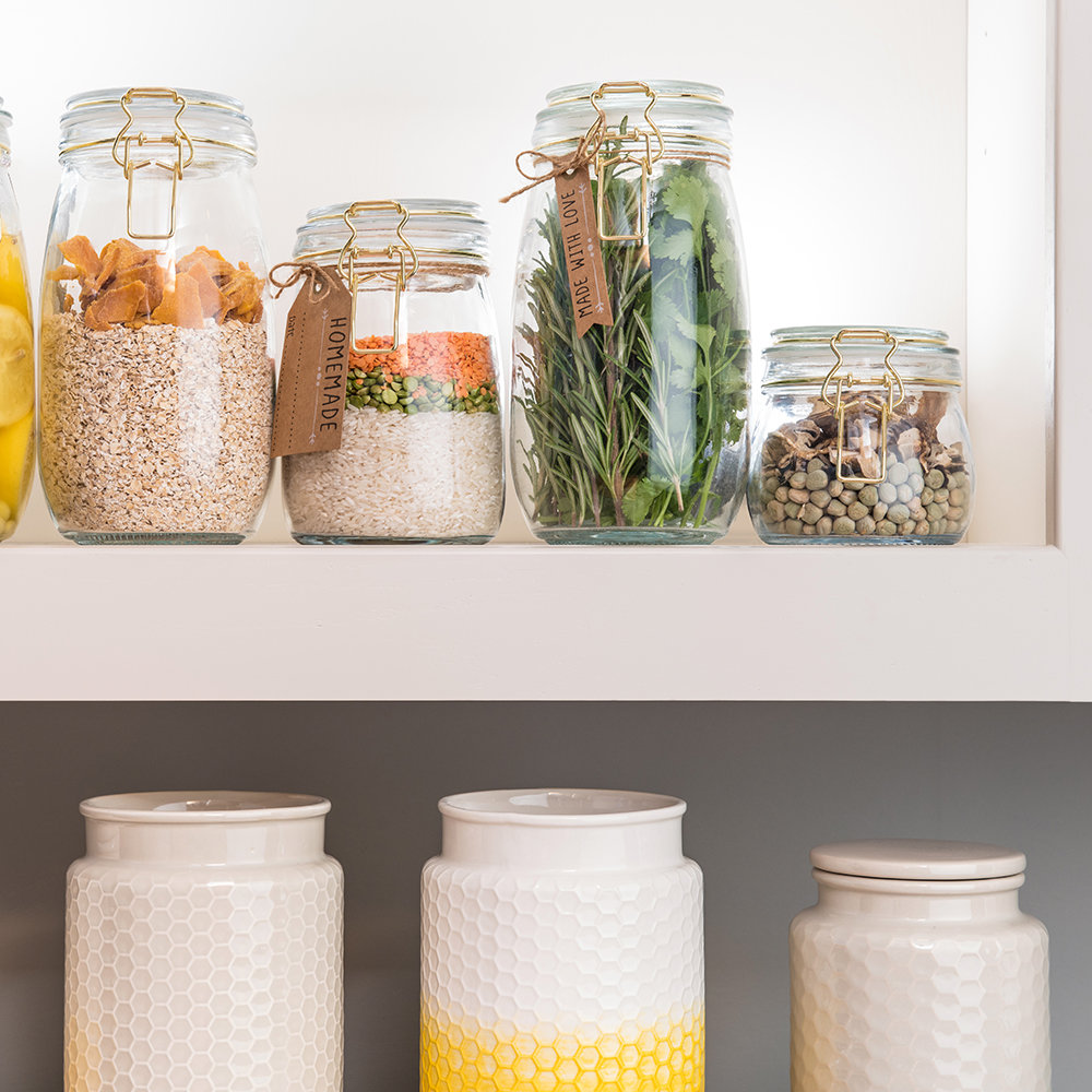 Honeycomb Embossed Gray Storage Canister - Large