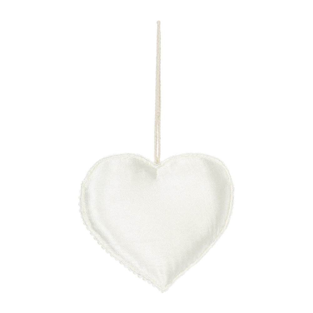 A by Amara - Beaded Embroidred Heart/Star Tree Decoration - Set of 2 - Ivory