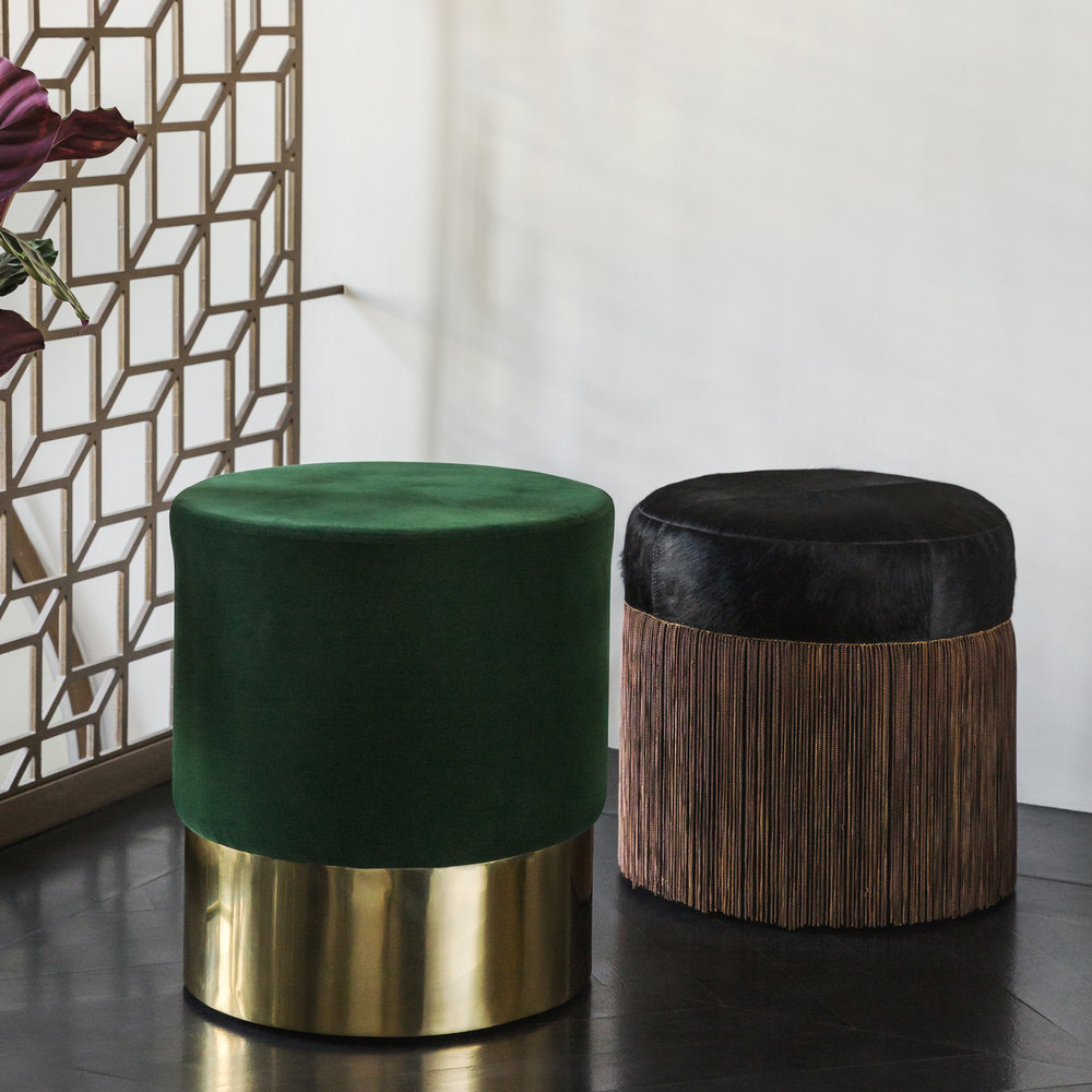 A by AMARA - Round Velvet Stool - Green/Gold