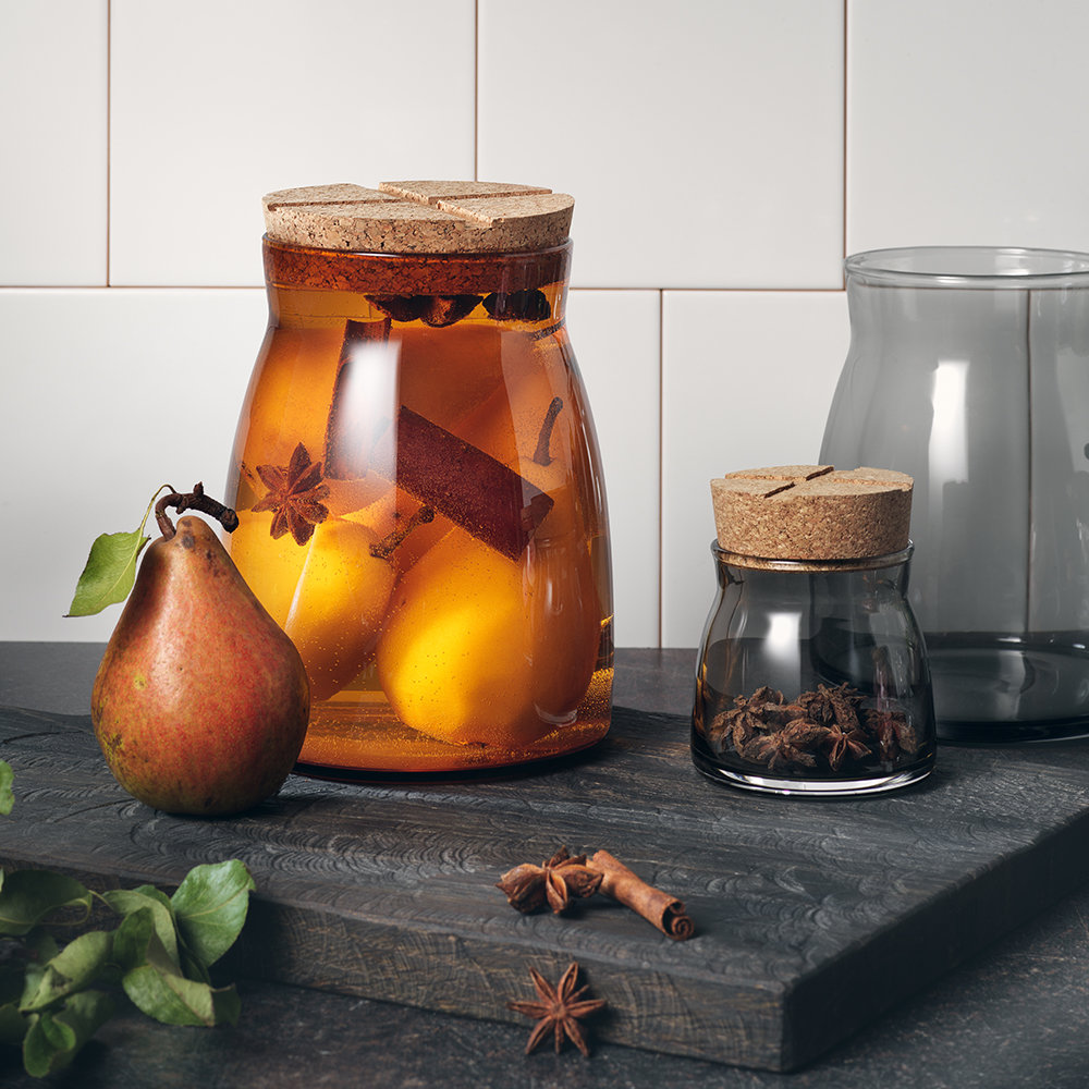 Orrefors Kosta Boda - Bruk Clear Jar with Cork Lid - Amber - Large